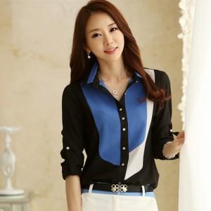 HOT-SALE-Women-s-Office-Tops-2014-Autumn-New-Korean-Fashion-Style-Color-Block-Collar-Long